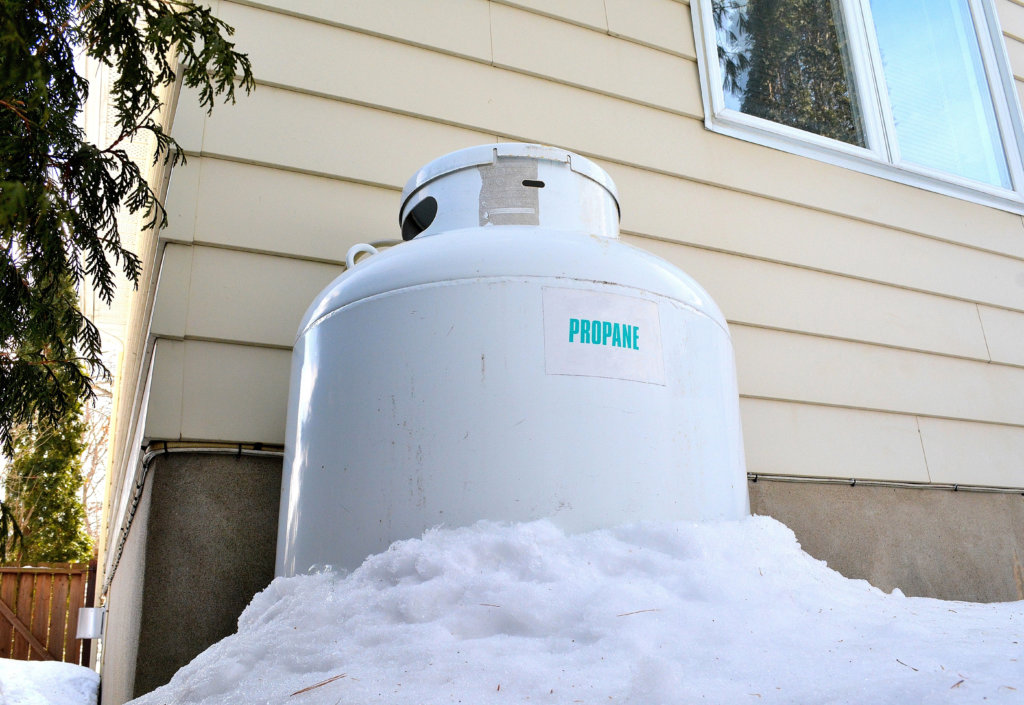 propane tank outside in the snow